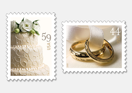 Stamps Wedding Cake Wedding Rings Stamps